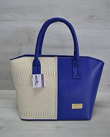 Классическая женская сумка «Две змейки» синяя, бежевая рептилия (Арт. 11510)   1 шт.