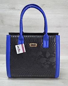 Женская сумка Бочонок черная рептилия с синим гладким (Арт. 31602)   1 шт.