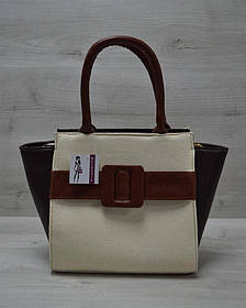 Молодежная женская сумка Комбинированная бежевого цвета с рыжим ремнем (Арт. 52201) | 1 шт.