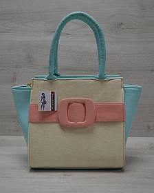 Молодежная женская сумка Комбинированная бежевого цвета с пудровым ремнем (Арт. 52202)   1 шт.