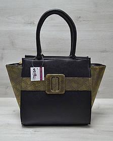 Молодежная женская сумка Комбинированная черного цвета с золотым ремнем (Арт. 52206)   1 шт.
