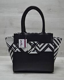 Молодежная женская сумка Комбинированная черного цвета с барбери ремнем (Арт. 52207)   1 шт.