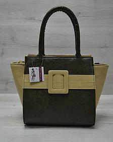 Молодежная женская сумка Комбинированная болотного цвета с оливковым ремнем (Арт. 52208)   1 шт.