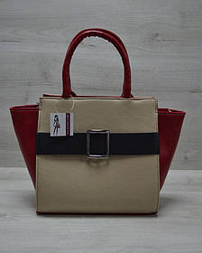 Молодежная женская сумка Ремень кофейного цвета с черным гладким (Арт. 52901)   1 шт.