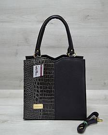 Классическая женская сумка Треугольник черного цвета с серым крокодилом (Арт. 31705)   1 шт.