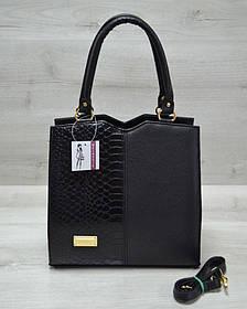 Классическая женская сумка Треугольник черного цвета с черной коброй (Арт. 31711)   1 шт.