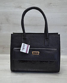 Каркасная женская сумка с  накладным карманом лаковый черный (Арт. 31005)   1 шт.