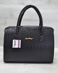 Каркасная женская сумка Саквояж черный крокодил (Арт. 31120)   1 шт.