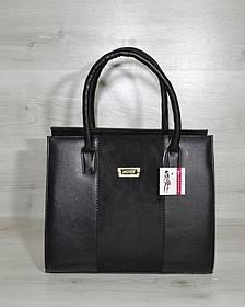 Женская сумка Бочонок черного цвета с замшевой вставкой (Арт. 31609)   1 шт.