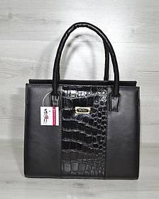 Женская сумка Бочонок черный с черной лаковой вставкой (Арт. 31610)   1 шт.