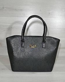 Классическая женская сумка «Две змейки» зеленая змея с черными ручками (Арт. 11520)   1 шт.