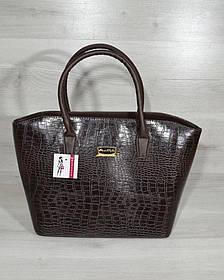 Классическая женская сумка «Две змейки» коричневый крокодил (Арт. 11521)   1 шт.