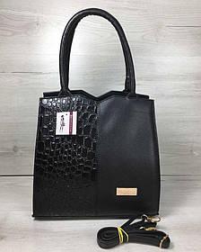 Классическая женская сумка Треугольник черного цвета с черным лаковым крокодилом (Арт. 31714)   1 шт.