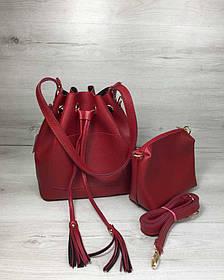 Молодежная сумка из эко-кожи  Люверс красного цвета (Арт. 23112) | 1 шт.