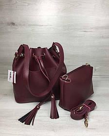 Молодежная сумка из эко-кожи  Люверс бордового цвета (Арт. 23117) | 1 шт.