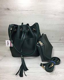 Молодежная сумка из эко-кожи  Люверс зеленого цвета (Арт. 23118) | 1 шт.