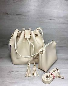 Молодежная сумка из эко-кожи  Люверс бежевого цвета (Арт. 23119) | 1 шт.