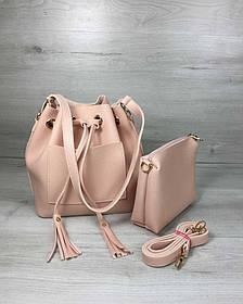 Молодежная сумка из эко-кожи  Люверс пудрового цвета (Арт. 23120) | 1 шт.