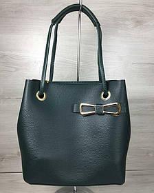 2в1 Молодежная женская сумка Бантик зеленого цвета (Арт. 55008) | 1 шт.