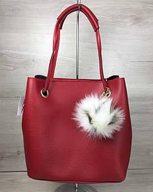 2в1 Молодежная женская сумка Пушок красного цвета (Арт. 55022) | 1 шт.