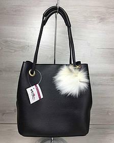 2в1 Молодежная женская сумка Пушок черного цвета (Арт. 55024) | 1 шт.