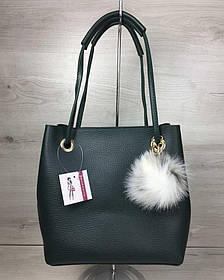 2в1 Молодежная женская сумка Пушок зеленого цвета (Арт. 55028) | 1 шт.