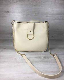 Молодежная женская сумка Ева бежевого цвета (Арт. 55109)   1 шт.