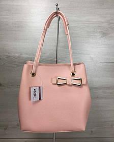 2в1 Молодежная женская сумка Бантик пудрового цвета (Арт. 55010) | 1 шт.