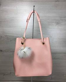 2в1 Молодежная женская сумка Пушок пудрового цвета (Арт. 55030) | 1 шт.