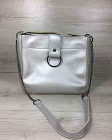 Молодежная женская сумка Ева серебряного цвета (никель) (Арт. 55111)   1 шт.