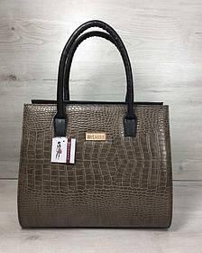 Женская сумка Бочонок черного цвета со вставкой кофейный крокодил (Арт. 31617)   1 шт.