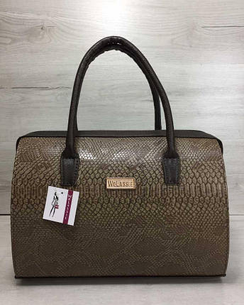 15d185392c36 Каркасная женская сумка Саквояж коричневая рептилия с коричневыми ручками,  фото 2