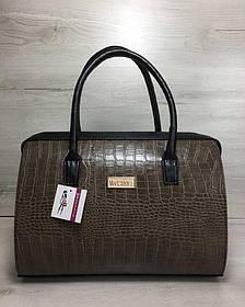 Каркасная женская сумка Саквояж кофейный крокодил с черными ручками (Арт. 31134)   1 шт.