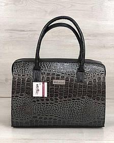 Каркасная женская сумка Саквояж серый лаковый крокодил (Арт. 31136)   1 шт.