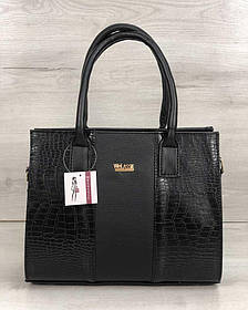 Каркасная женская сумка Селин черного цвета со вставками черный крокодил (Арт. 31216)   1 шт.