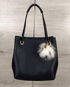 2в1 Молодежная женская сумка Пушок синего цвета (Арт. 55023) | 1 шт.