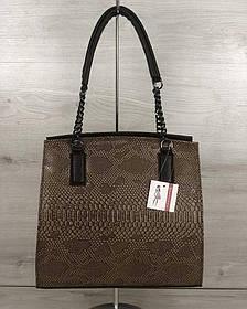 Каркасная женская сумка Адела коричневого цвета со кофейная рептилия (Арт. 32105)   1 шт.