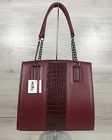 Каркасная женская сумка Адела бордового цвета со вставкой бордовый крокодил (Арт. 32106)   1 шт.