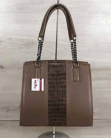 Каркасная женская сумка Адела кофейного цвета со вставкой кофейный крокодил (Арт. 32107)   1 шт.