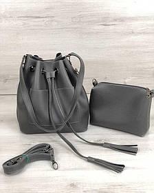 Молодежная сумка из эко-кожи  Люверс серого цвета (никель) (Арт. 23131) | 1 шт.
