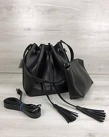Молодежная сумка из эко-кожи  Люверс черного цвета (никель) (Арт. 23134) | 1 шт.