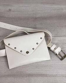 Женская сумка на пояс белого цвета (Арт. 99102) | 1 шт.