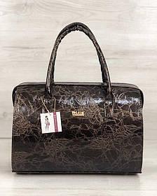 Каркасная женская сумка Саквояж коричневый лаковый мрамор (Арт. 31109)   1 шт.