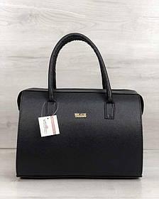 Каркасная женская сумка Саквояж черный матовый (Арт. 31129)   1 шт.