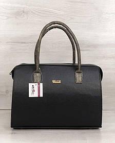 Каркасная женская сумка Саквояж черный матовый с золотыми ручками (Арт. 31128)   1 шт.