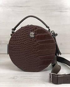 Стильная женская сумка Бриджит коричневого цвета со вставкой коричневый крокодил (Арт. 32301)   1 шт.