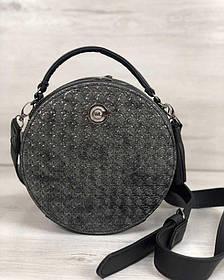 Стильная женская сумка Бриджит черного цвета со вставкой серебро (Арт. 32302)   1 шт.