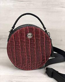 Стильная женская сумка Бриджит черного цвета со вставкой красный крокодил (Арт. 32303)   1 шт.