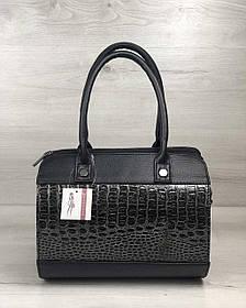 Женская сумка Маленький Саквояж черного цвета со вставкой серый лаковый крокодил (Арт. 32008)   1 шт.