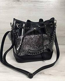 2в1 Молодежная сумка Люверс силикон с черным (Арт. 23114) | 1 шт.